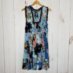 Bila   Boho Floral Print Blue Dress Size Large
